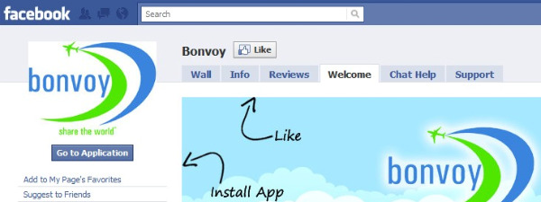 bonvoy fb app install it screen pic