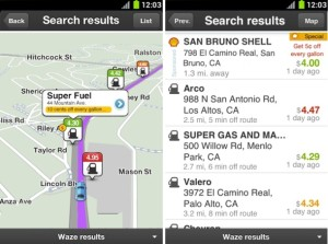 waze gas search